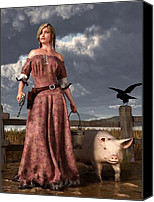 Remington Canvas Prints - Swineherdess Canvas Print by Daniel Eskridge