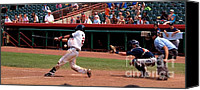Detroit Tigers Canvas Prints - Swing and a Miss Canvas Print by Joshua House