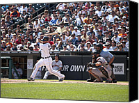 Detroit Tigers Art Canvas Prints - Swing and Hit Canvas Print by Cindy Lindow