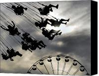Fun Fair Canvas Prints - Swing Canvas Print by Gothicolors With Crows
