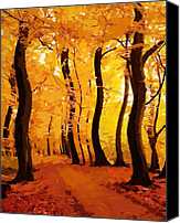 Trees Pastels Canvas Prints - Swinging Autumn Canvas Print by Stefan Kuhn