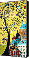 Black Birds Canvas Prints - Swirl Tree Two BIrds And Houses Canvas Print by Karla Gerard