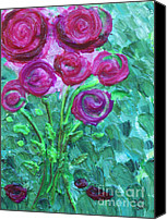 Impasto Reliefs Canvas Prints - Swirly Roses Canvas Print by Ruth Collis