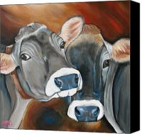Bulls Canvas Prints - Swiss Misses Canvas Print by Laura Carey