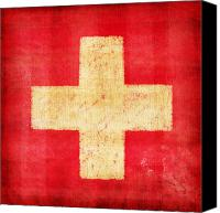 Old Photo Canvas Prints - Switzerland flag Canvas Print by Setsiri Silapasuwanchai