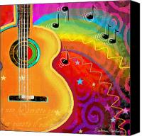 Musical Notes Canvas Prints - SXSW Musical Guitar fantasy painting print Canvas Print by Svetlana Novikova