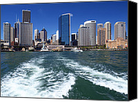 Sydney Skyline Canvas Prints - Sydney Circular Quay Canvas Print by Melanie Viola