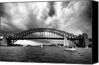 Black And White Yacht Canvas Prints - Sydney Harbor Bridge Black and White V2 Canvas Print by Douglas Barnard