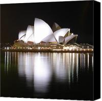 Sydney Photographs Canvas Prints - Sydney Opera House at Night Canvas Print by Jessica Estrada