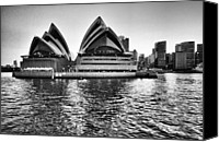 Sydney Skyline Canvas Prints - Sydney Opera House-Black and White Canvas Print by Douglas Barnard