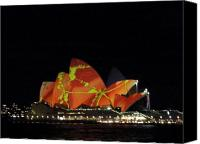 Sydney Photographs Canvas Prints - Sydney Opera House color festival Canvas Print by Swati