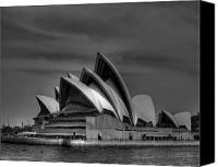 Sydney Skyline Canvas Prints - Sydney Opera House Print Image in Black and White Canvas Print by Chris Smith