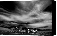 Sydney Skyline Canvas Prints - Sydney skyline with dramatic sky Canvas Print by Sheila Smart
