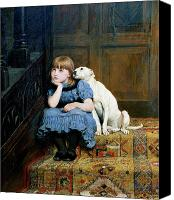 Dog Glass Canvas Prints - Sympathy Canvas Print by Briton Riviere