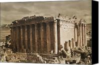 Bacchus Canvas Prints - Syria-baalbek.  The Temple Of Bacchus Canvas Print by Maynard Owen Williams