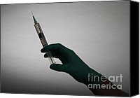 Glove Canvas Prints - Syringe Canvas Print by Photo Researchers, Inc.
