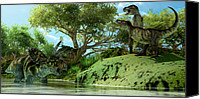 T Rex Canvas Prints - T-Rex Defiance Canvas Print by Corey Ford