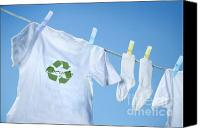Sky Line Canvas Prints - T-shirt with recycle logo drying on clothesline on a  summer day Canvas Print by Sandra Cunningham