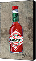 Hot Painting Canvas Prints - Tabasco Hot Sauce Canvas Print by Elaine Hodges