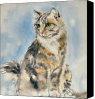 Tabby  Painting Canvas Prints - Tabby Cat Canvas Print by Frances Gillotti