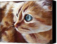 Hanging Pastels Canvas Prints - Tabby Cat  Canvas Print by Mary Sparrow Smith