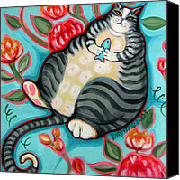 Tabby  Painting Canvas Prints - Tabby Cat on a Cushion Canvas Print by Rebecca Korpita