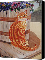 Tabby  Painting Canvas Prints - Tabby Cat Canvas Print by Stella Sherman