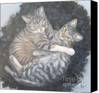Tabby  Painting Canvas Prints - Tabby Cats on a Feather Bed Canvas Print by Gayle Rene
