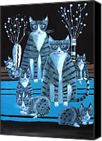 Tabby  Painting Canvas Prints - Tabby Family Canvas Print by Mary Stubberfield