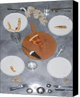 Eaten Canvas Prints - Table After Pizza Dinner Canvas Print by Andersen Ross