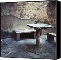 Peeling Canvas Prints - Table And Bench Canvas Print by Oliver Rockwell