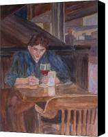 Bars Painting Canvas Prints - Table for One Canvas Print by Jenny Armitage