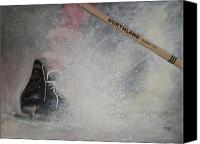 Hockey Painting Canvas Prints - Tacks Canvas Print by Ron  Genest