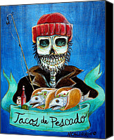 Dia De Los Muertos Canvas Prints - Tacos de Pescado Canvas Print by Heather Calderon