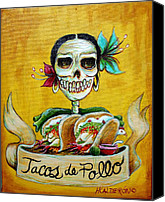 Dia De Los Muertos Canvas Prints - Tacos de Pollo Canvas Print by Heather Calderon