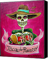 Skulls Canvas Prints - Tacos de Puerco Canvas Print by Heather Calderon