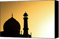 India Canvas Prints - Taj Mahal At Sunset Canvas Print by Kokkai Ng