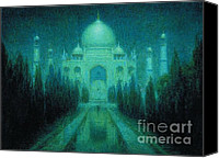 1923 (oil On Canvas) Canvas Prints - Taj Mahal by Moonlight Canvas Print by Pg Reproductions