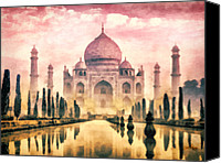 Featured Painting Special Promotions - Taj Mahal Canvas Print by Mo T