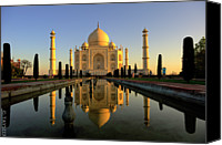 India Canvas Prints - Taj Mahal Canvas Print by Tayseer AL-Hamad