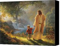 Orange Canvas Prints - Take My Hand Canvas Print by Greg Olsen