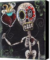 Sugar Skull Painting Canvas Prints - Take my Heart Canvas Print by  Abril Andrade Griffith