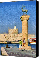 Portrait Canvas Prints - Taking pictures at the entrance of Mandraki port Canvas Print by George Atsametakis