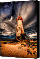 Vacation Digital Art Canvas Prints - Talacre Lighthouse Canvas Print by Adrian Evans