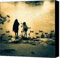 Old Photo Canvas Prints - Talking to ducks Canvas Print by Bob Orsillo