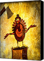 Cartoon Canvas Prints - Talking Turkey In A Pilgrim Hat Canvas Print by Bob Orsillo