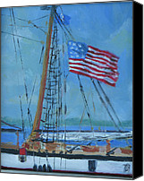 Clayton Painting Canvas Prints - Tallship Lynx Thirteen Stars Canvas Print by Robert P Hedden