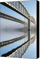 Bridge Crossing River Photo Canvas Prints - Tamar road bridge and Brunel rail bridge Canvas Print by Mark Stokes