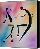 Contemporary Dance Painting Canvas Prints - Tambourine Jam Canvas Print by Ikahl Beckford