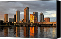 Tampa Bay Florida Canvas Prints - Tampa in reflection Canvas Print by David Lee Thompson